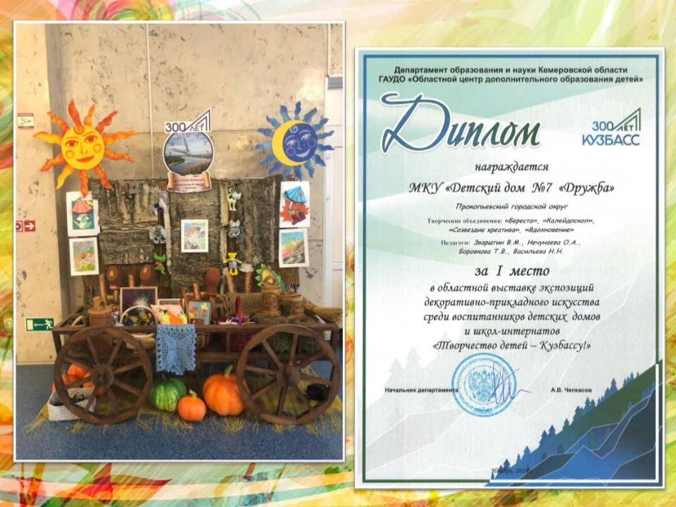 """I место в областной выставке экспозиций """"Творчество детей – Кузбассу!»"""